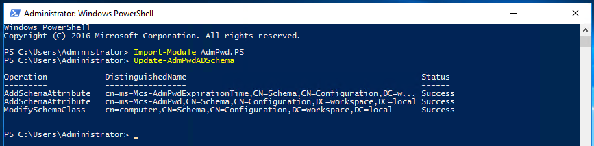 LAPS Powershell - Update Active Directory Schema