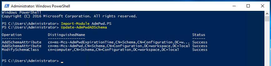 LAPS Powershell - Update Active Directory Schema