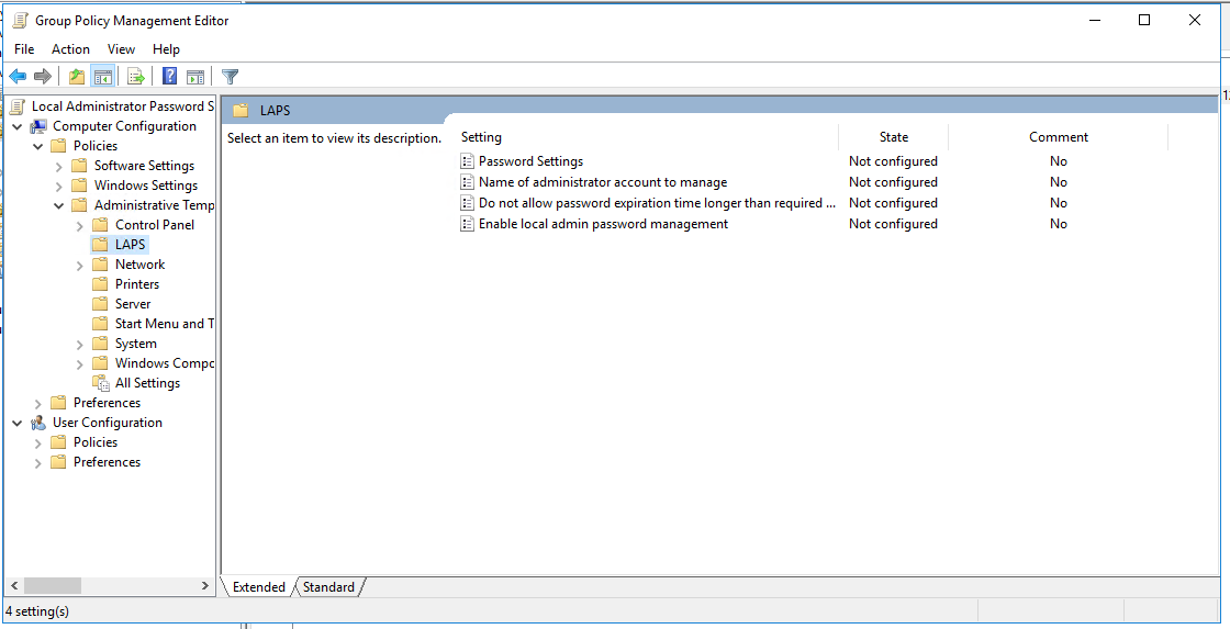 LAPS Group Policy Settings