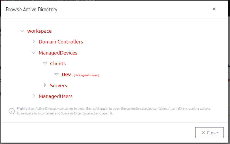 Browsing Active Directory in OVERLAPS 1.2