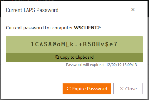Viewing a single computer's password in OVERLAPS.