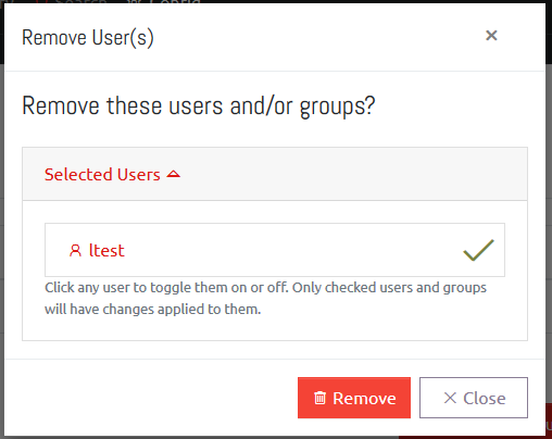Removing a User/Group from OVERLAPS