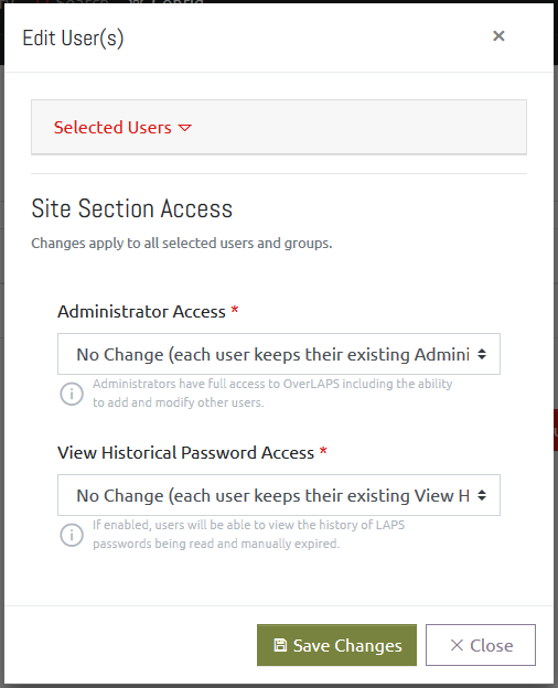Editing a User's Access Level