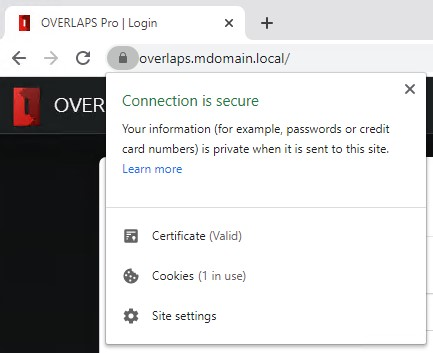 Certificate installed and the connection is now showing as secure