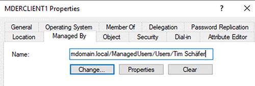 A Computer Managed by a User in Active Directory