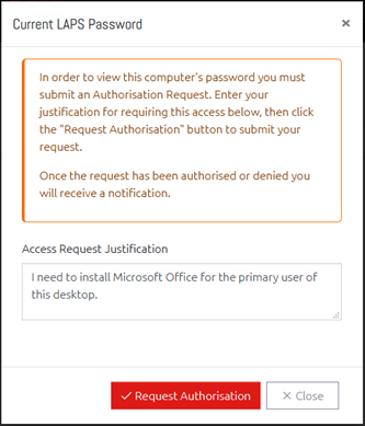 Prompt to request Authorisation to view this computer's password